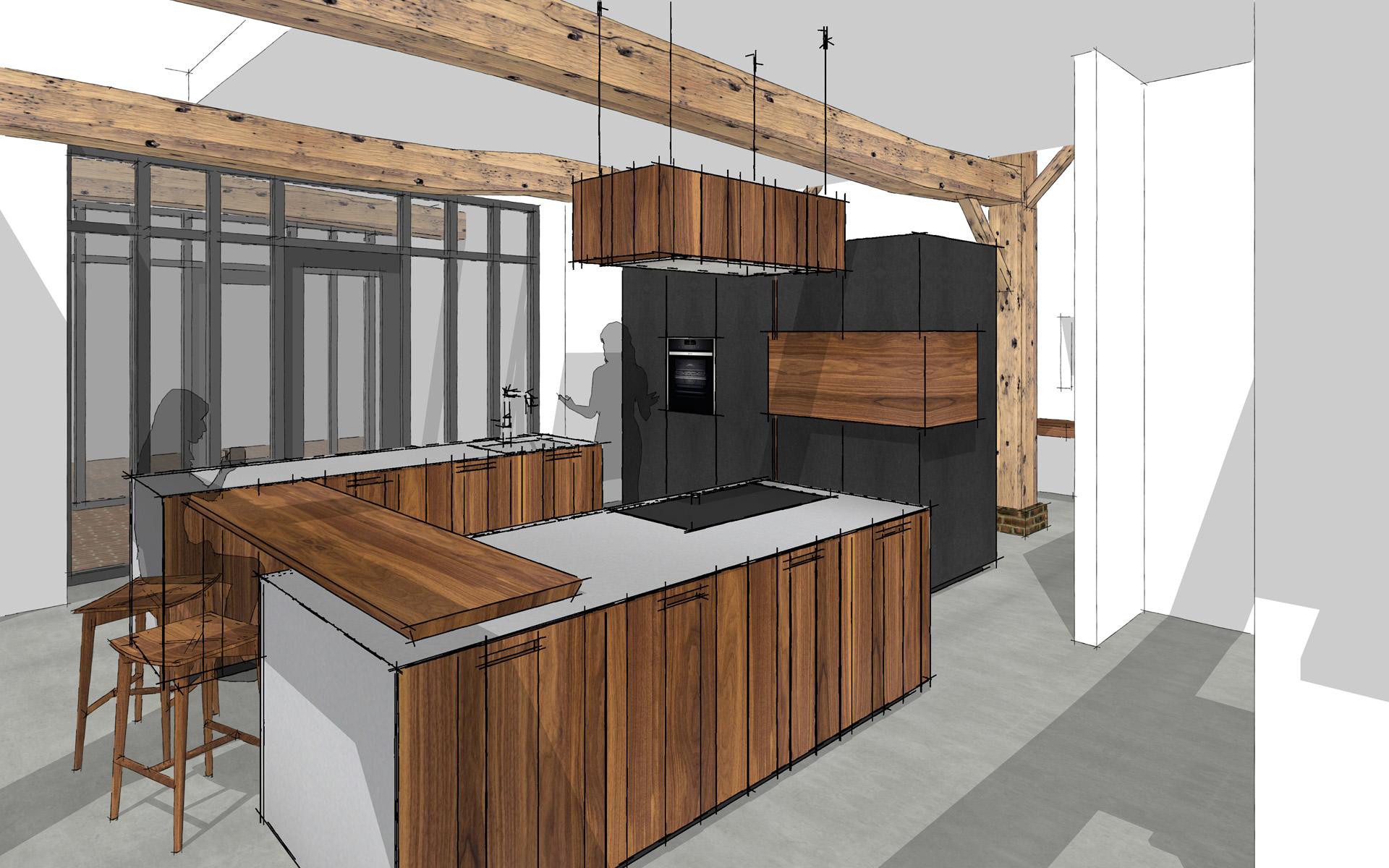 Achterwand Keuken Mdf : Notenhouten keuken te Erm Studio SOOL