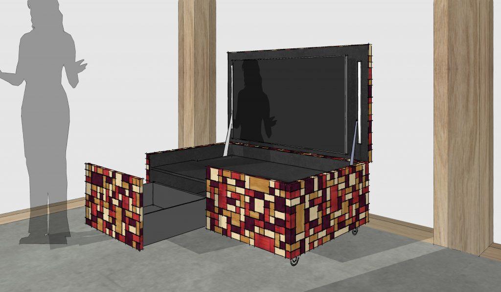 Meubel met verborgen TV geopend