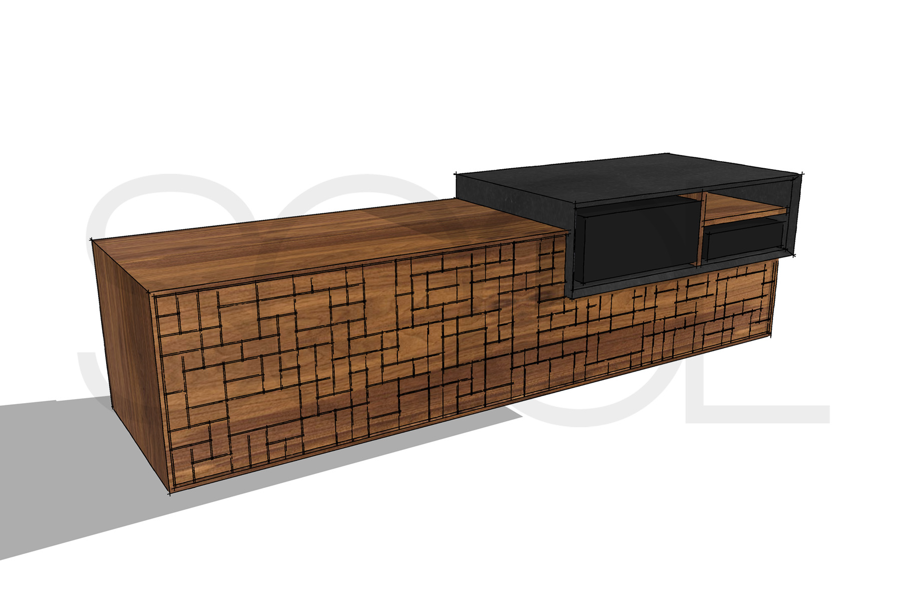 Pxl tv meubel notenhout haren studio sool